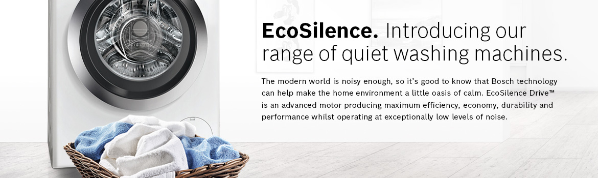 EcoSilence. Introducing our range of quiet washing machines.