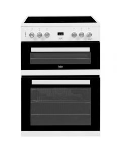 Beko EDC633W 60cm Double Oven Electric Cooker with Ceramic Hob - White
