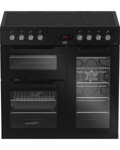 Beko KDVC90K Freestanding 90cm double oven range cooker Black